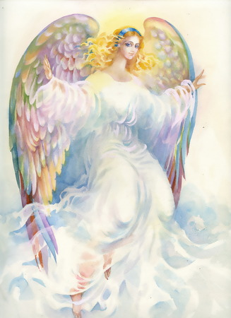 angel girl: Beautiful angel with wings