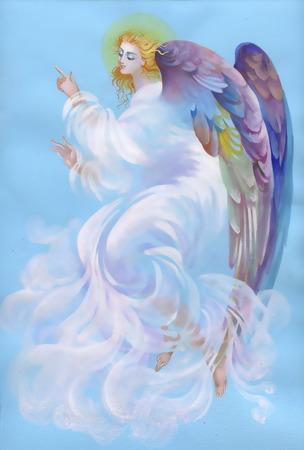 caritas pintadas: Hermoso ángel con alas Vectores