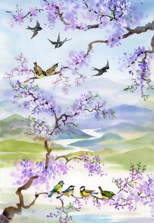Birds on cherry branch photo