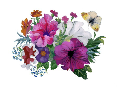 flowers bouquet: Watercolor flowers bouquet and butterfly