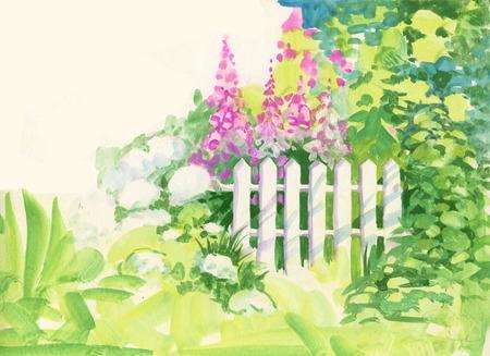 정원에서 수채화 농촌 나무 울타리