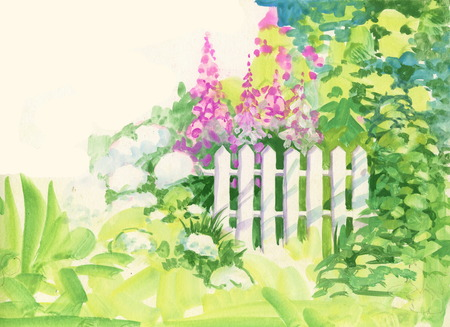Watercolor Rural wooden fence in the garden Ilustração