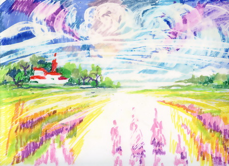rural scene: Watercolor colorful Rural scene