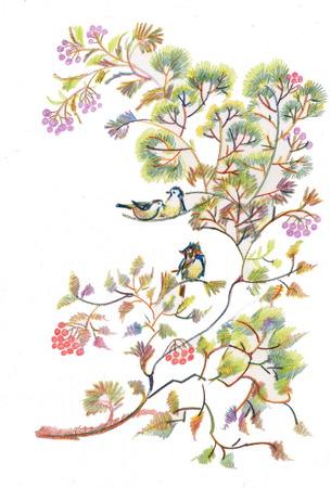 twigs: Birds on Spring tree twigs illustration