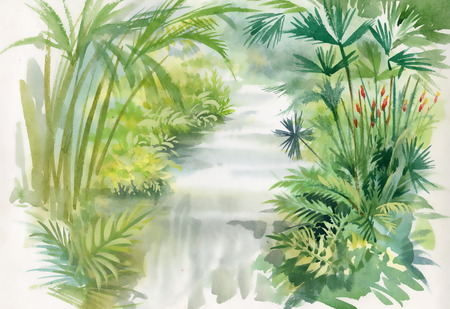 Watercolor illustration of waterfall in jungle