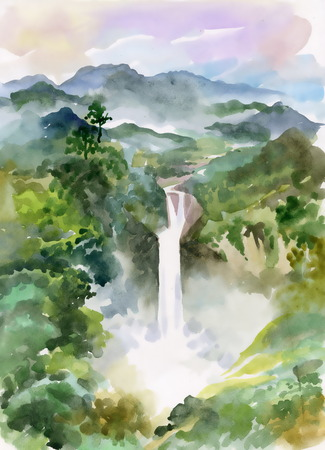 cascade mountains: Watercolor illustration of beautiful waterfall and mountains