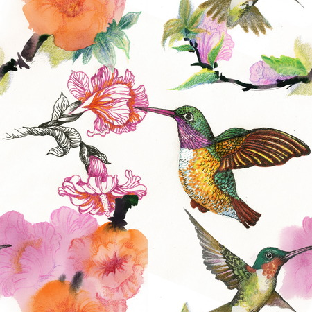 Drawing of beautiful bright birds and flowers seamless pattern