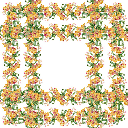 taffy: Floral colorful mallow flowers pattern on white background