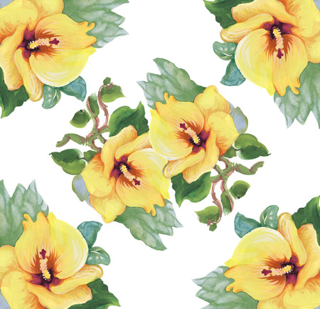 gently blue: Floral colorful spring flowers seamless pattern on white background