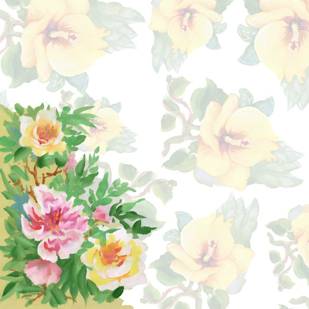 gently blue: Floral colorful spring flowers pattern on white background