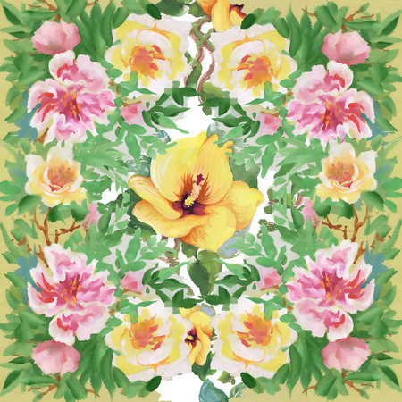 Floral colorful spring flowers seamless pattern on white background