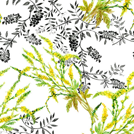 Wild flowers seamless pattern on white background photo