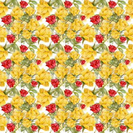 transparently: Floral colorful roses flowers pattern on white background