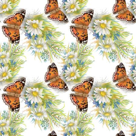 Papillons image motif avec des fleurs