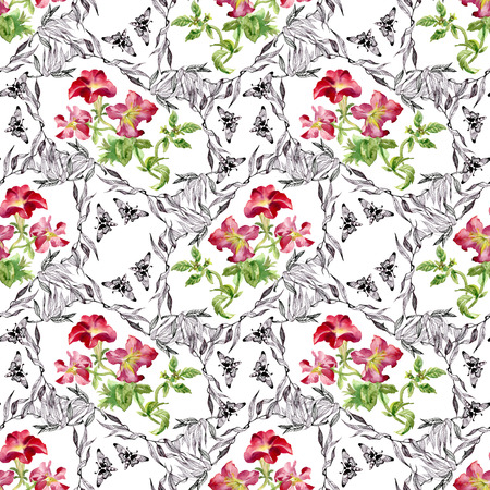 gently blue: Colorful garden flowers Seamless pattern on white background