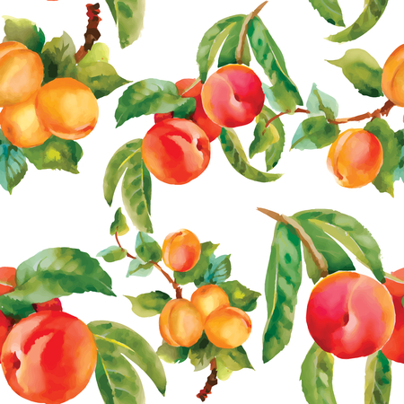 red apples: Seamless background with red apples and leaves. Vector illustration.