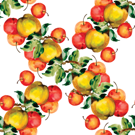 red apples: Seamless pattern with red apples and leaves. Vector illustration.