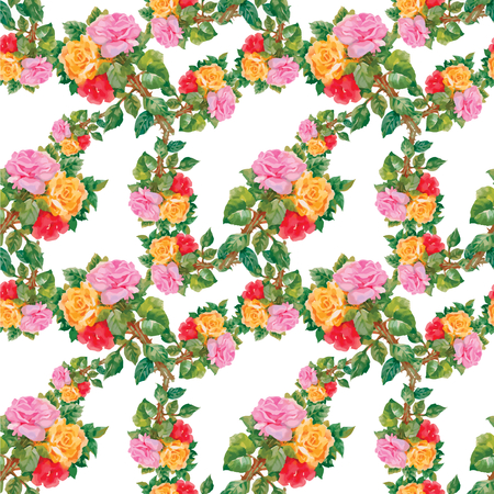 rose flower: Watercolor seamless  pattern with roses and violets. Background for web pages, wedding invitations, save the date cards.