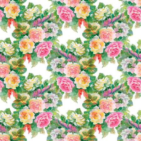 orange roses: Seamless floral pattern with of red and orange roses on black background. Vector illustration.