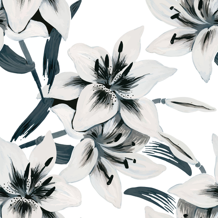 Seamless background of watercolor flowers. Lilies flowers on a white background. Vettoriali