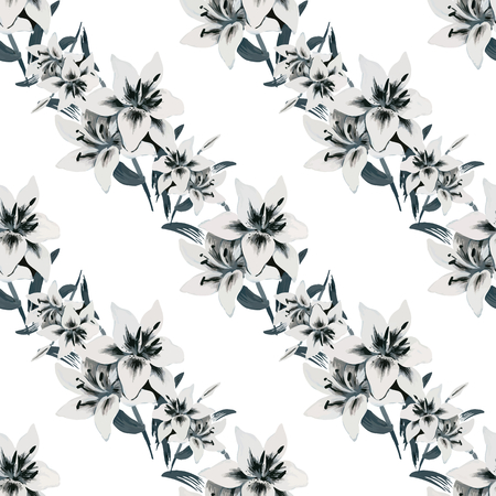 Seamless background of watercolor flowers. Lilies flowers on a white background. Vector
