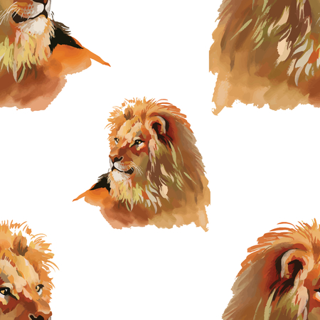 eye drawing: Watercolor lion seamless pattern Illustration