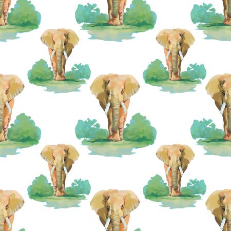 indian elephant: Patr�n transparente con elefante indio con patr�n de belleza.