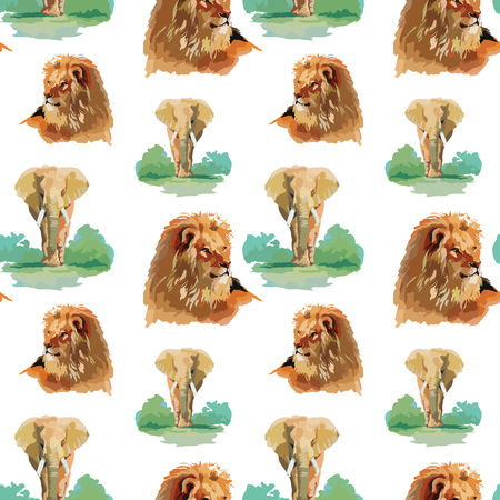 Watercolor lion and elephant seamless pattern Vector