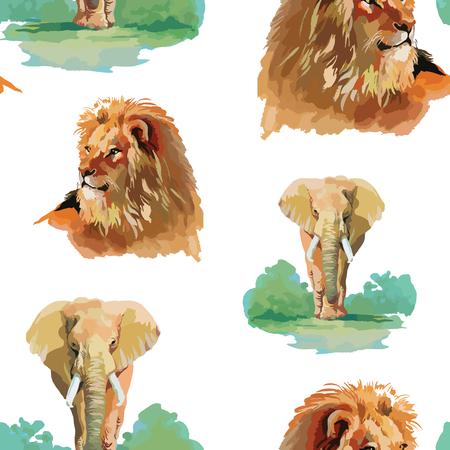 gato dibujo: León de la acuarela y el elefante sin fisuras patrón