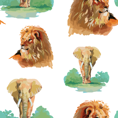 white lion: Watercolor lion and elephant seamless pattern Illustration