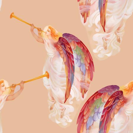 eden: Sch�ne Aquarell Engel mit Fl�geln nahtlose Muster Illustration