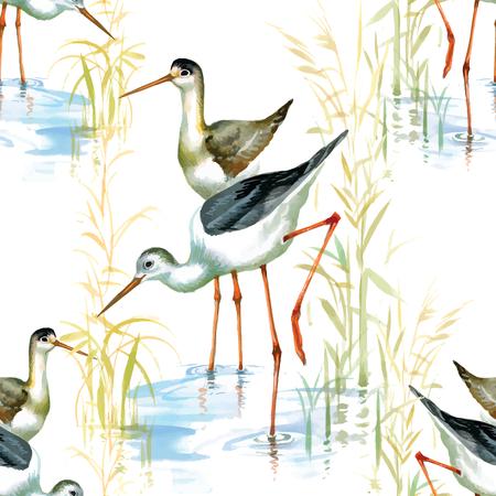 Stork seamless pattern watercolor Vector