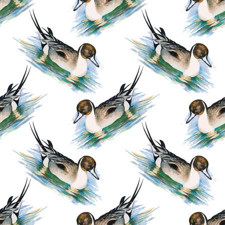 ducklings: Little fluffy cute watercolor ducklings seamless pattern