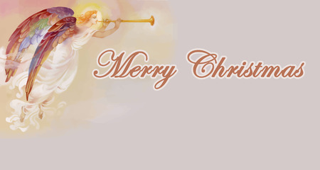 Merry Christmas card with angel vector illustration