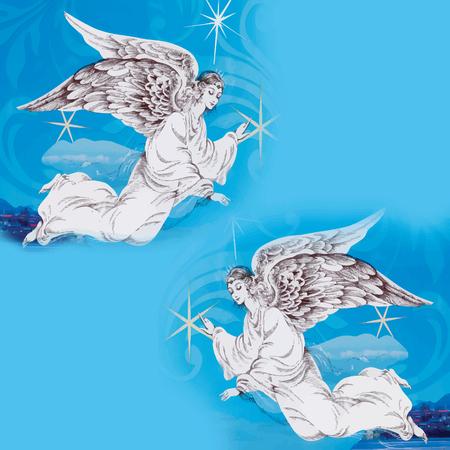 angeles bebe: Tarjeta de la Feliz Navidad con ángel ilustración vectorial