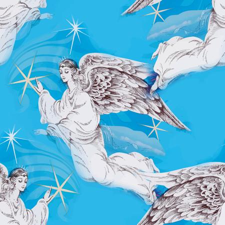 Weihnachtskarte mit Engel Vektor-Illustration Standard-Bild - 39579145