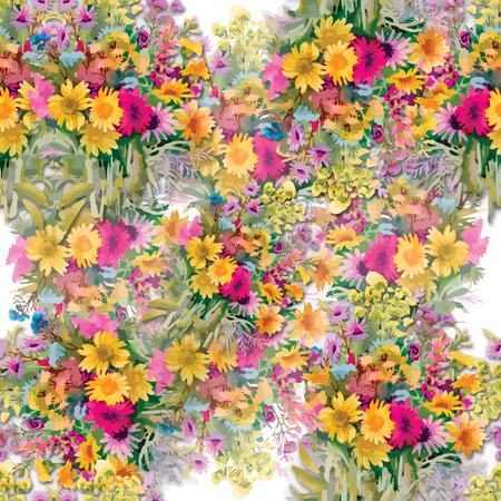 Wild flowers seamless pattern on white background