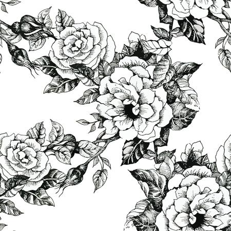 白い背景の上の野生の花のシームレスなパターン