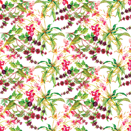 uncultivated: Wild flowers seamless pattern on white background