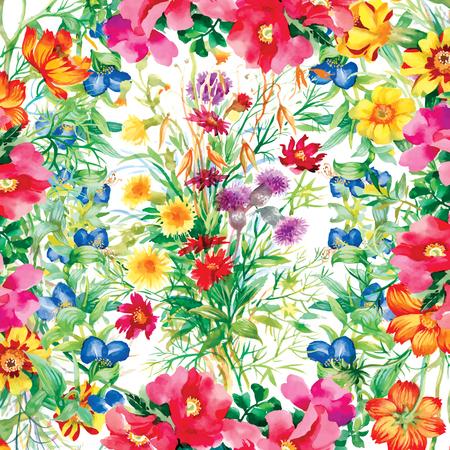 白い背景の上の野生の花のパターン