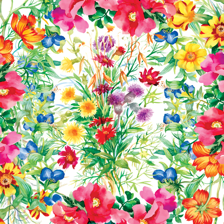 Wild flowers pattern on white background