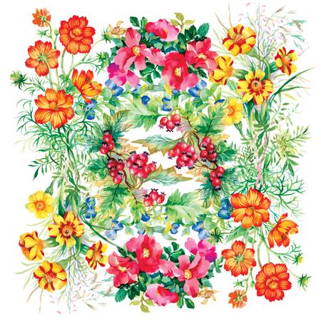 Wild flowers pattern on white background Vector