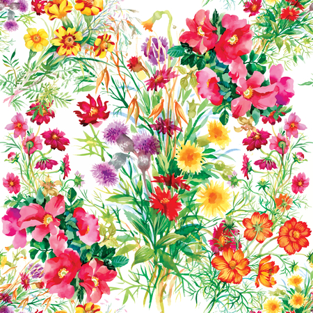 Colorful garden flowers Seamless pattern on white background