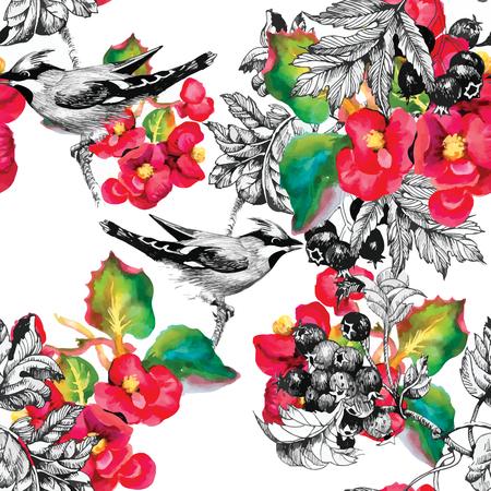 flores exoticas: Patrón sin fisuras con las hierbas de verano y aves. Acuarela