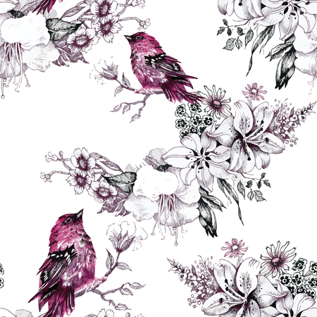 Seamless pattern with summer herbs and birds. Watercolor