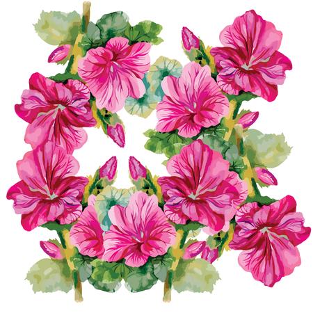 Naadloze patronen met prachtige bloemen, aquarel illustratie