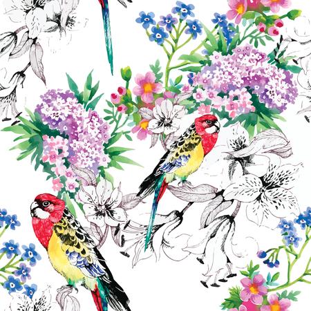 鳥、熱帯、ヤシの木、水彩画、パイナップル、パターン、壁紙、オオハシ