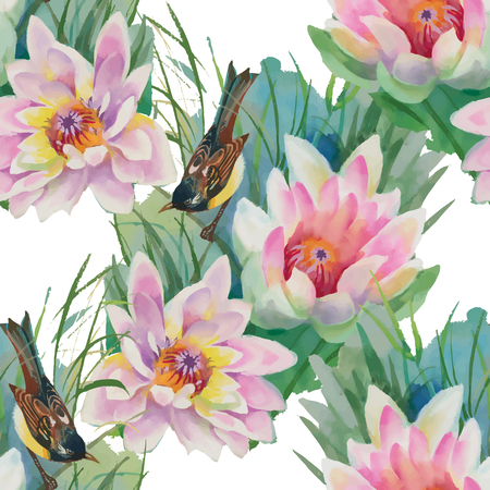 Watercolor hand drawn seamless pattern with tropical summer flowers of plumeria and exotic violet birds Ilustracja