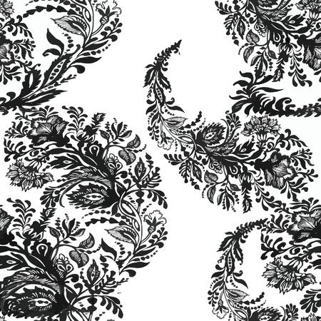 abstrakte muster: Schöne nahtlose Muster mit Blumen, Aquarellillustration Illustration