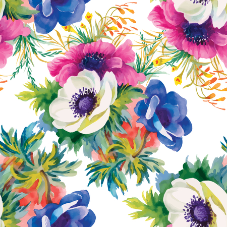 Seamless pattern watercolor flowers, paper, textile, fabric, wrapper, wallpaper,vector Vettoriali